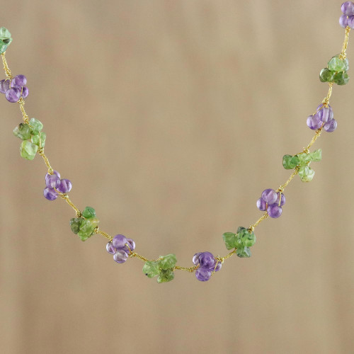 Amethyst and Peridot Beaded Necklace from Thailand 'Chiang Mai Muse'
