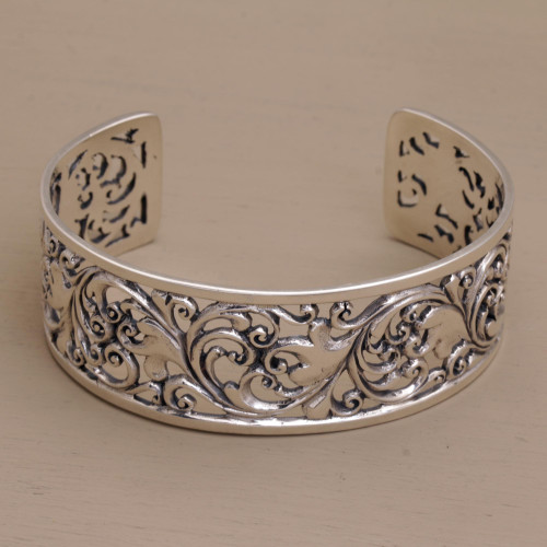 Detailed Sterling Silver Vine and Leaf Cuff Bracelet 'Undergrowth'