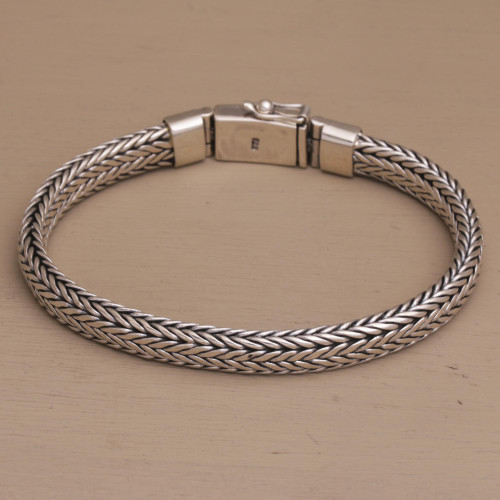 Sterling Silver Foxtail Chain Bracelet from Bali 'Bali Shine'