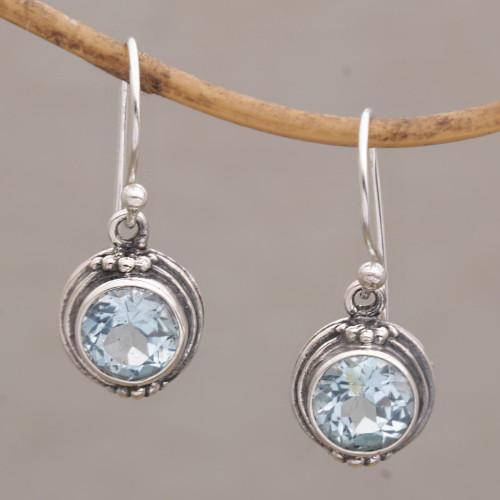 Three Carat Blue Topaz Dangle Earrings in Sterling Silver 'Cool Radiance'