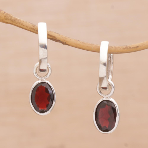 Versatile Garnet Hoop Earrings with Sterling Silver 'Out of the Loop'