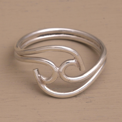 Contemporary Sterling Silver Cocktail Ring from Bali 'Shockwave'
