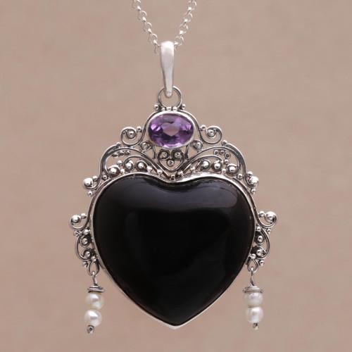 Amethyst Cultured Pearl Silver Black Bone Heart Necklace 'Love Like Midnight'