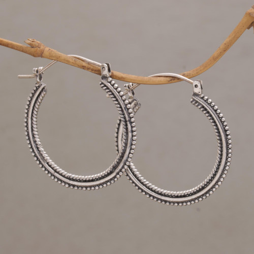 Sterling Silver Hoop Earrings with Textured Details 1.4 In 'On Rotation'