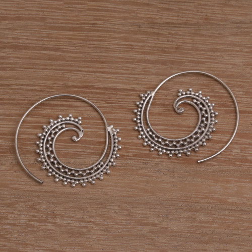 Sterling Silver Spiral Threader Earrings from Bali 'Bali Tendrils'