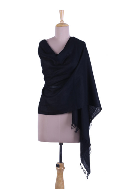 Women's Lightweight Solid Black Classic Wool Shawl 'Simplicity in Black'