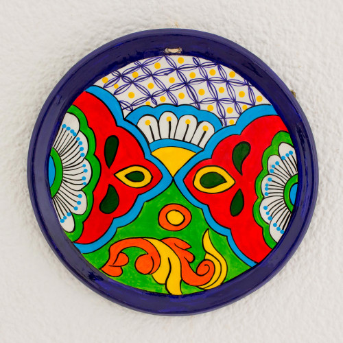 Hand-Painted Floral Ceramic Decorative Plate from Guatemala 'Flowers of Yore'