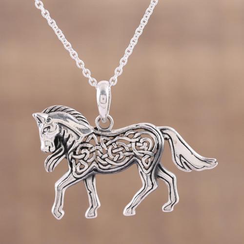 Celtic Knot Motif Sterling Silver Pony Necklace 'Celtic Pony'