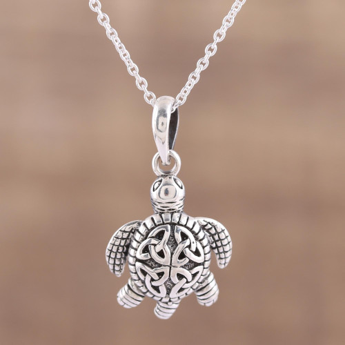 Sterling Silver Celtic Trinity Knot Turtle Pendant Necklace 'Trinity Turtle'