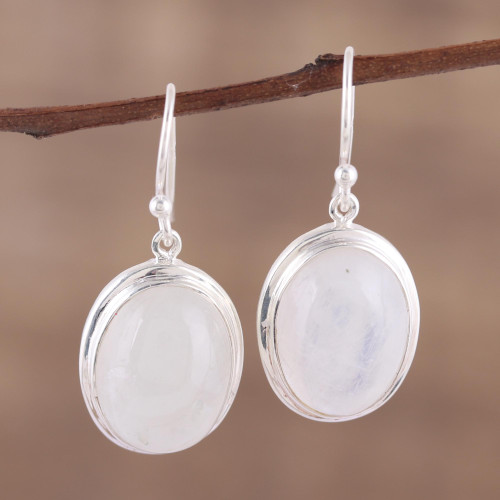Classic Rainbow Moonstone and Sterling Dangle Earrings 'Elusive Shimmer'