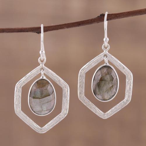 925 Sterling Silver and Labradorite Dangle Earrings 'Frozen Fire'