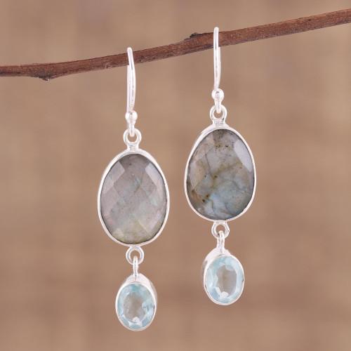 Labradorite and Blue Topaz Dangle Earrings 'Misty Muse'