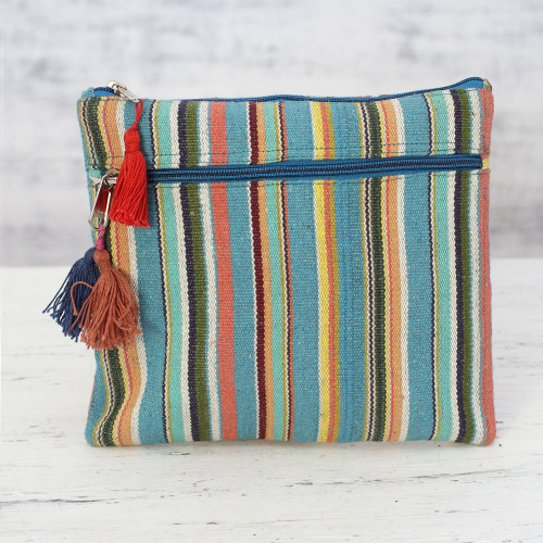 Multicolored Striped Hand Woven Cotton Cosmetic Bag 'Voyage'