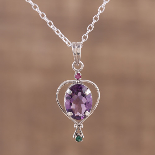 Amethyst Emerald and Ruby Pendant Necklace from India 'Sparkling Allure'