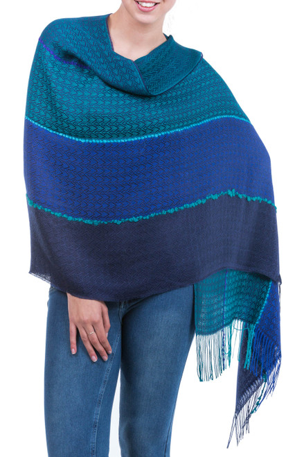 Alpaca Blend Shawl in Blue and Turquoise from Peru 'Passionate Woman'