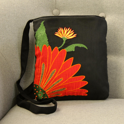 Embroidered Floral Cotton Sling Handbag from India 'Lovely Blossom'