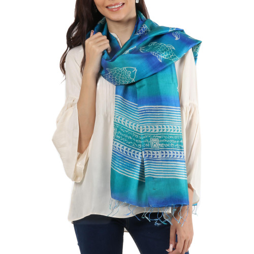 Block Printed Fringed Fish Motif Silk Shawl from India 'Fish in the Waves'