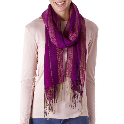 Alpaca Blend Wrap Scarf with Wave Motifs from Peru 'Effortless Style'