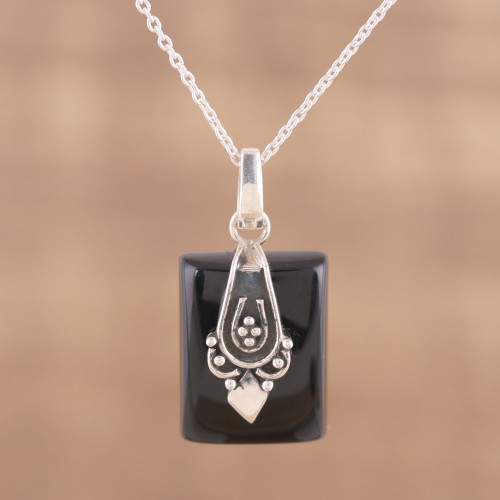 Black Onyx and Sterling Silver Pendant Necklace from India 'Midnight Greeting'