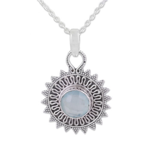 Circular Chalcedony and Silver Pendant Necklace from India 'Dreamy Corona'