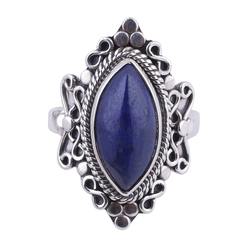 Lapis Lazuli and Sterling Silver Cocktail Ring from India 'Infinity Eye'
