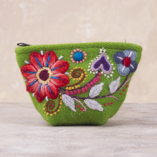 Green Floral Embroidered Alpaca Blend Coin Purse from Peru 'Spring Green Shopper'