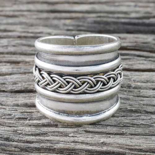 Handcrafted Sterling Silver Wrap Ring from Thailand 'Eternal Memory'