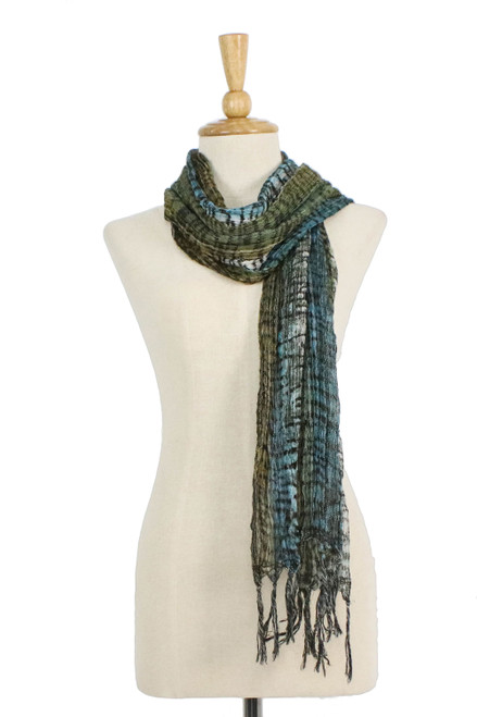 All Cotton Scarf with Green and Blue Tie Dyed Motifs 'Cool Jungle'