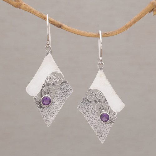 Artisan Crafted Sterling Silver Amethyst Dangle Earrings 'Amethyst Whirl'