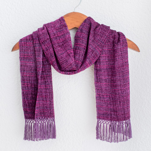 Grape and Berry Handwoven Scarf with Ruby Red 'Boysenberry Love'