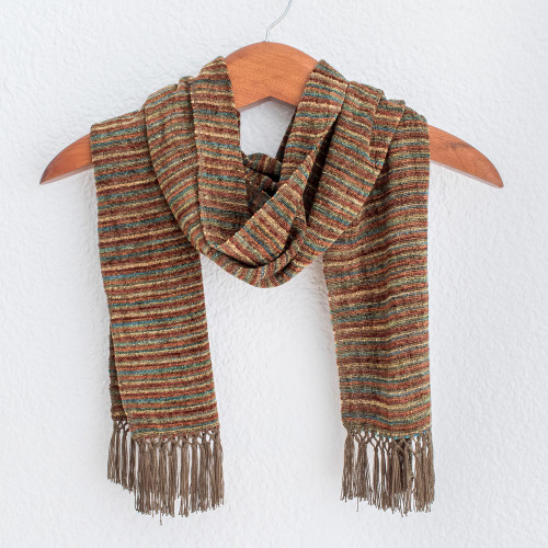 Multicolored Brown and Yellow Rayon Chenille Scarf 'Chestnut Love'