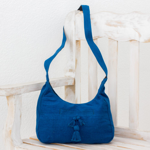 Handwoven Cotton Hobo Bag in Azure from Guatemala 'Ocean Day'