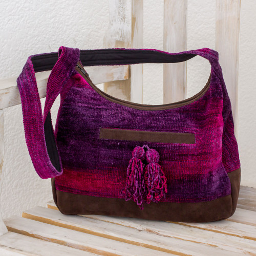 Rayon and Cotton Blend Hobo Bag in Purple from Guatemala 'Magical Day'