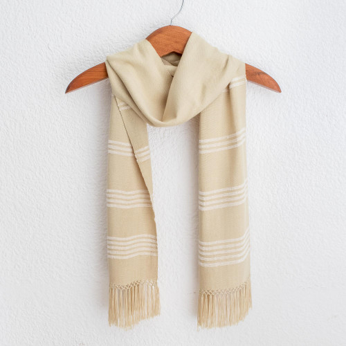 Handwoven Rayon Fiber Buttercup Yellow and White Scarf 'Mystic Maya Buttercups'