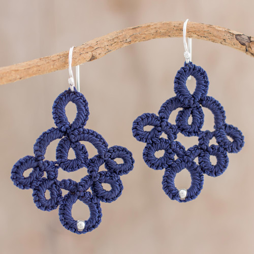 Petite Navy Peony Blue Hand-Tatted Lace Earrings 'Navy Blue Lace'