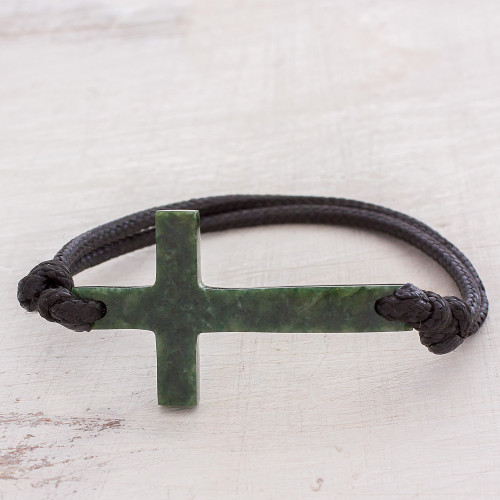 Cross-Shaped Dark Green Jade Bracelet from Guatemala 'Maya Faith in Dark Green'