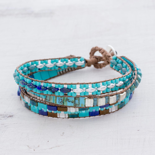 Glass Beaded Wristband Bracelet in Blue from Guatemala 'Pools of the City'