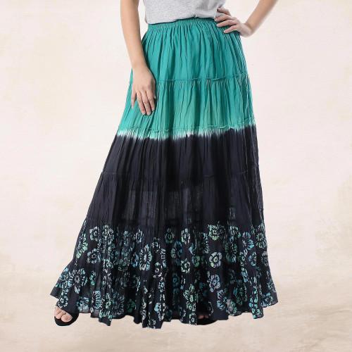 Batik Painted Floral 100 Cotton Skirt from Thailand 'Summer Dance'