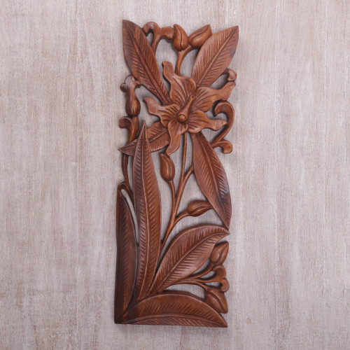 Hand Carved Balinese Wood Orchid Wall Relief Panel 'Orchid Charm'