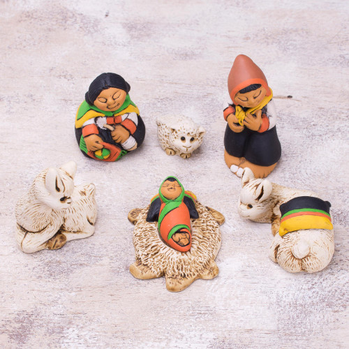 Andean Style Petite Ceramic Nativity Scene 7 Pieces 'Hope of the Andes'