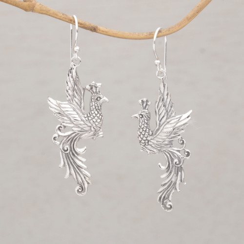 Peacock Motif Sterling Silver Dangle Earrings 'Merak Majesty'