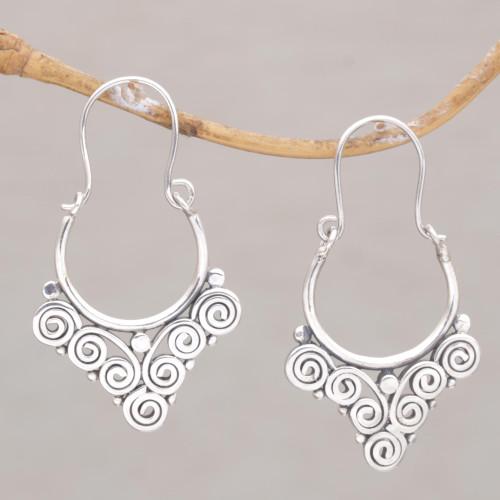 Handcrafted Sterling Silver Hoop Earrings from Bali 'Cascading Swirls'