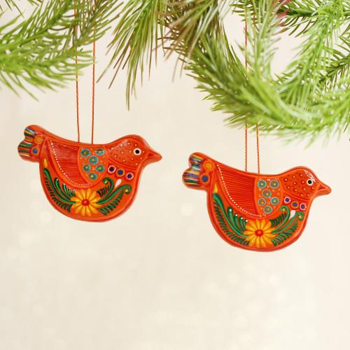 Mexico 2 Handmade Orange Floral Ceramic Peace Dove Ornaments 'Tangerine Dove'
