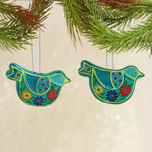 2 Caribbean Blue Ceramic Handcrafted and Painted Ornaments 'Blue Floral Dove'