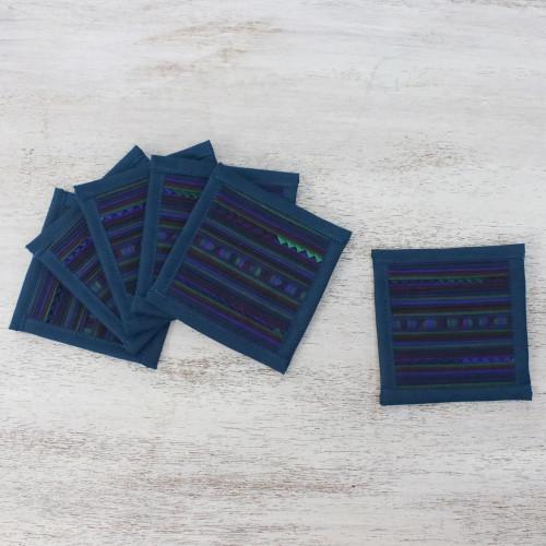 Hand Crafted Dark Teal Cotton Blend Coasters Set of 6 'Lahu Dark Teal'