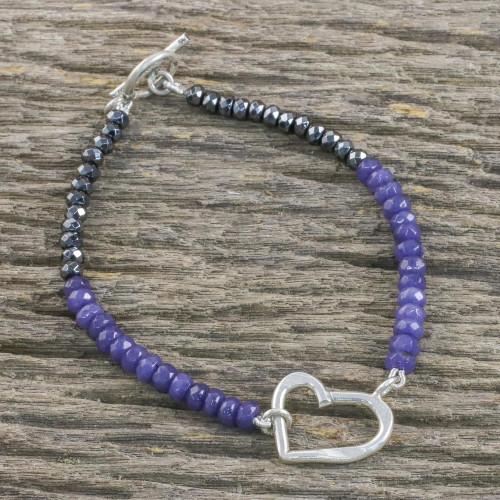 Handmade Dyed Quartz Hematite 950 Silver Bracelet 'Special Heart in Purple'