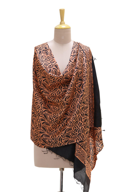 Handwoven Black and Peach Silk Shawl from India 'Exquisite Dynasty'