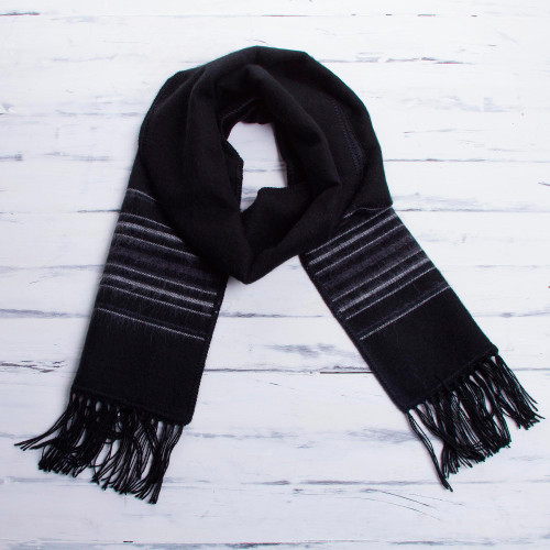 Artisan Crafted Woven Black Alpaca Blend Scarf for Men 'Andean Clouds in Black'