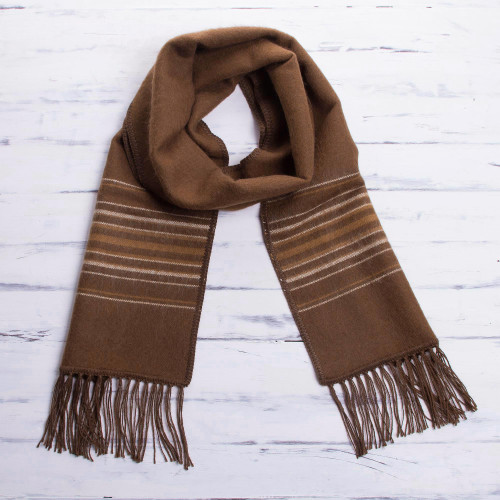 Men's Artisan Crafted Woven Brown Alpaca Blend Scarf 'Andean Clouds in Brown'