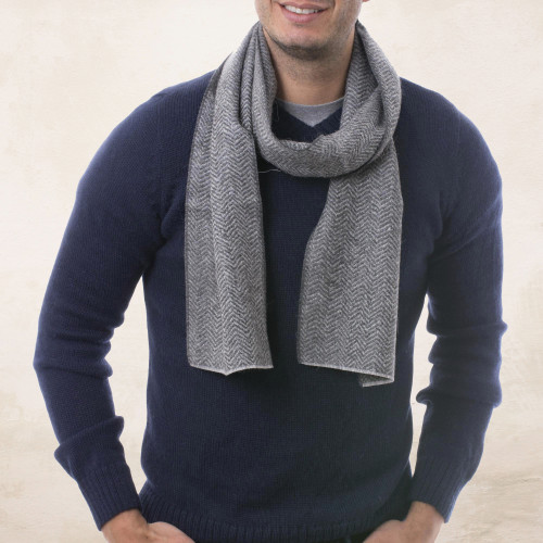 Handwoven Grey Herringbone 100 Alpaca Scarf for Men 'Grey Herringbone'